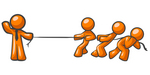 Clip Art Graphic of an Orange Guy Character Wearing A Business Tie And Waving While Holding One End Of A Rope And Competing In A Tug Of War Contest With Three Other People