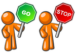 Clip Art Graphic of Conflicting Orange Guy Characters Holding Red Stop And Green Go Signs