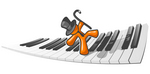 Clip Art Graphic of an Orange Guy Character Wearing A Tie And Top Hat And Dancing Across A Keyboard With A Cane