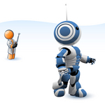 Clip Art Graphic of an Orange Guy Character Testing Out His New Invention, A Blue And White Robot, Controlled By A Remote