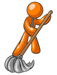 Clip Art Graphic of an Orange Guy Character Wearing A Tie And Mopping Up A Mess On A Floor