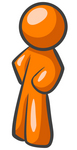 Clip Art Graphic of an Orange Guy Character Standing With His Hands On His Hips, Leaning Slightly To The Right