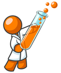 Clip Art Graphic of an Orange Guy Scientist Character Wearing A Lab Coat And Holding A Bubbly Liquid Filled Test Tube