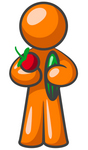 Clip Art Graphic of an Orange Guy Character Inspired To Eat Healthy Foods, Holding An Apple And Cucumber