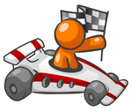 Clip Art Graphic of an Orange Guy Character Holding A Checkered Flag And Driving A Race Car