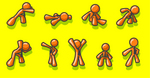 Clip Art Graphic of an Orange Guy Character Collection Of 9 Different Poses Showing Strength