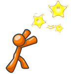 Clip Art Graphic of an Orange Guy Character Reaching For Shining Stars In The Sky, Symbolizing Dreams And Hope