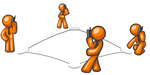 Clip Art Graphic of Orange Guy Characters Standing On Bases In A Square And Chatting To Eachother On Mobile Cell Phones