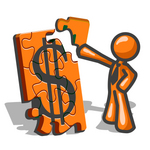 Clip Art Graphic of an Orange Guy Character Fitting A Corner Piece To A Financial Dollar Sign Puzzle On Top