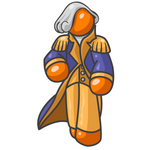 Clip Art Graphic of an Orange Guy Character Wearing A George Washington Costume And Wig