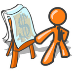 Clip Art Graphic of an Orange Guy Character Wearing A Business Tie, Standing In Front Of A Presentation Board With A Dollar Sign Puzzle During A Meeting