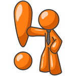 Clip Art Graphic of an Orange Guy Character Wearing A Business Tie And Punching A Giant Exclamation Point