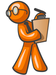 Clip Art Graphic of an Orange Guy Character Wearing Spectacles And A Business Tie And Carrying A Pen And Clipboard While Reviewing Workers