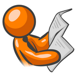 Clip Art Graphic of an Orange Guy Character Wearing A Business Tie And Reading The Morning Newspaper Before The Work Day
