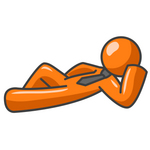 Clip Art Graphic of an Orange Guy Character Wearing A Business Tie, Kicking Back And Lying Down, Resting His Head On His Arm