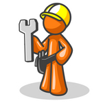 Clip Art Graphic of an Orange Guy Character Construction Worker Holding A Wrench And Wearing A Hardhat And Toolbelt