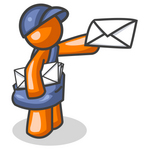 Clip Art Graphic of an Orange Guy Character Mailman In Blue, Holding Out A White Envelope And Carrying A Bag