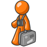 Clip Art Graphic of an Orange Guy Character Touring A Destination, Wearing A Camera On A Strap And Carrying Luggage