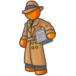 Clip Art Graphic of an Orange Guy Character In A Trench Coat Carrying A Discovery Box