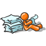 Clip Art Graphic of an Orange Guy Character Sitting On The Floor And Going Through A Large Stack Of Papers At Work