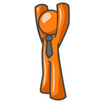 Clip Art Graphic of an Orange Guy Character Wearing A Tie And Standing With His Arms High Above His Head