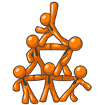 Clip Art Graphic of Orange Guy Characters Wearing Business Ties, Standing On Top Of Eachother In The Form Of A Pyramid