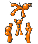 Clip Art Graphic of Orange Guy Characters Tossing Their Team Mate High Into The Air While Celebrating