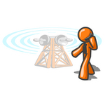 Clip Art Graphic of an Orange Guy Character Walking Past A Communications Tower And Talking On A Cellular Telephone