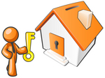 Clip Art Graphic of an Orange Guy Character Holding A Golden Key And Standing By A Home