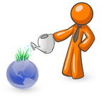 Clip Art Graphic of an Orange Guy Character Using A Watering Can To Feed Sprouting Grass On Top Of A Blue Globe