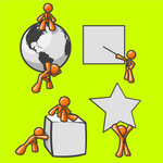 Clip Art Graphic of an Orange Guy Character Collection With A Globe, Presentation, Cube And Star