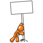 Clip Art Graphic of an Orange Guy Character Putting A Post And Blank Sign Into The Ground