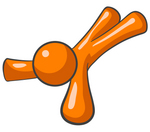 Clip Art Graphic of an Orange Guy Character Lying Flat On His Face, Or On His Back And Stretching