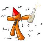 Clip Art Graphic of an Orange Guy Character In A Red Party Hat, Holding A Bottle Of Champagne And Partying In Confetti At A New Year's Party