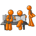 Clip Art Graphic of Orange Guy Characters Waiting At A Bus Stop Bench, Standing, Reading A Newspaper And Sitting