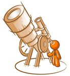 Clip Art Graphic of an Orange Guy Character Astronomer Peering Through The Lens Of A Giant Telescope