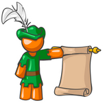 Clip Art Graphic of an Orange Guy Character In A Robin Hood Costume, Holding A Scrolled Parchment