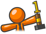 Clip Art Graphic of an Orange Guy Character In A Business Tie, Holding A First Place Trophy
