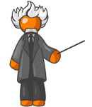 Clip Art Graphic of an Orange Guy Albert Einstein Character With White Hair, Holding A Pointer
