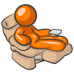 Clip Art Graphic of an Orange Guy Character Being Lazy In A Reclining Chair With A Chubby Belly