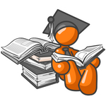 Clip Art Graphic of an Orange Guy Character In A Graduation Cap, Reading Books