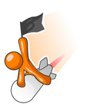 Clip Art Graphic of an Orange Guy Character Waving A Flag And Flying Past On A Fast Rocket