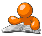 Clip Art Graphic of an Orange Guy Character Reading Through Articles And Classifieds In The Newspaper