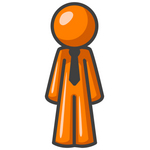 Clip Art Graphic of an Orange Guy Character In A Business Tie, Standing Tall And Facing Front