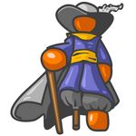 Clip Art Graphic of an Orange Guy Pirate Character With A Peg Leg, Leaning Against A Cane