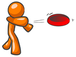 Clip Art Graphic of an Orange Guy Character Throwing A Red Frisbee With Strength