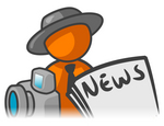 Clip Art Graphic of an Orange Guy Character News Reporter With A Camera And Newspaper