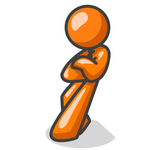 Clip Art Graphic of an Orange Guy Character Slumped And Leaning Heavily Against A Wall While Thinking
