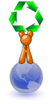 Clip Art Graphic of an Orange Guy Character Holding Green Recycle Arrows Above His Head, Standing On Top Of The Globe