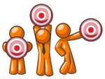 Clip Art Graphic of an Orange Guy Characters Holding Target Bullseye Points In Different Positions